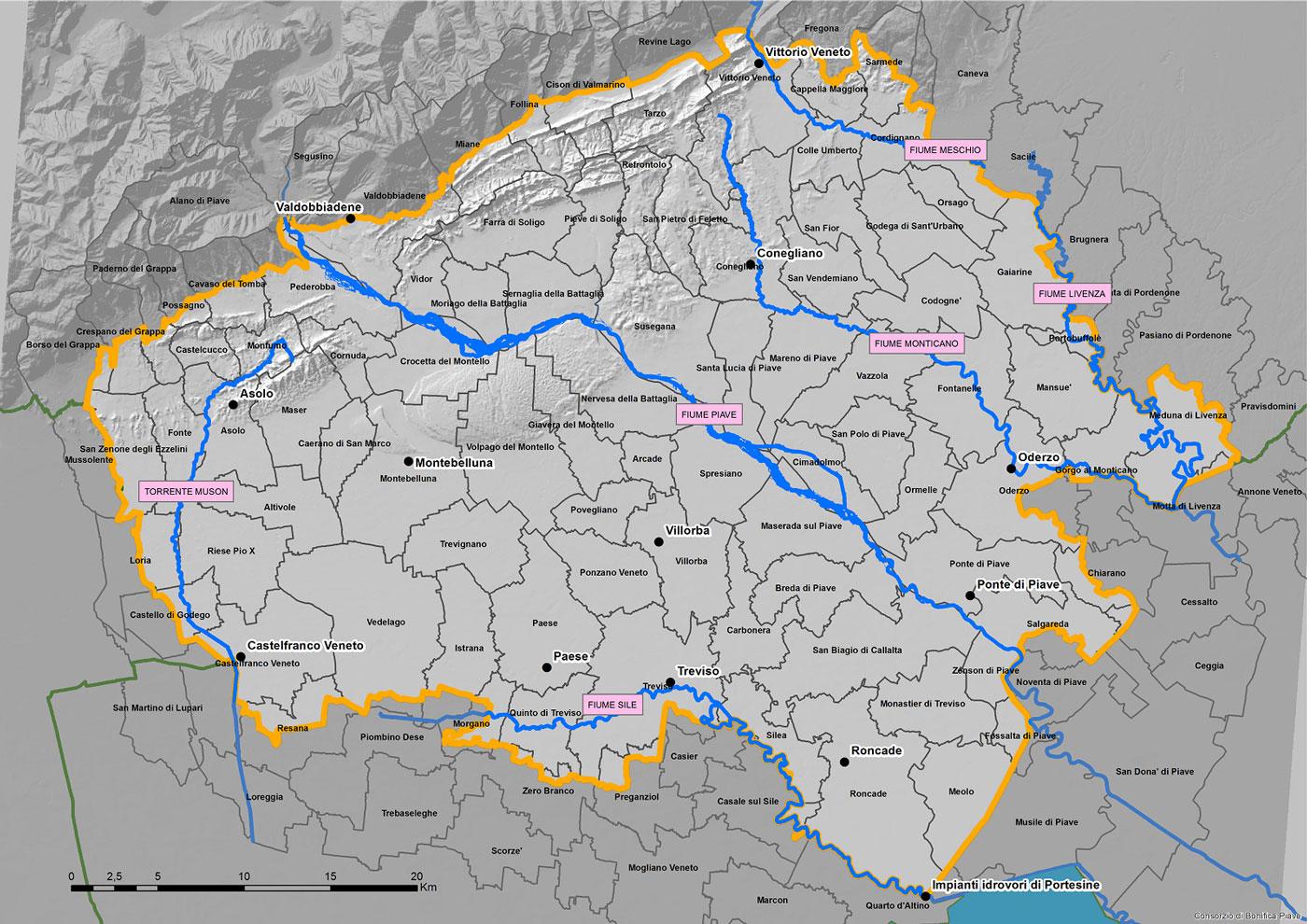 Cartina Idrografica Veneto.Territorio Consorzio Piave